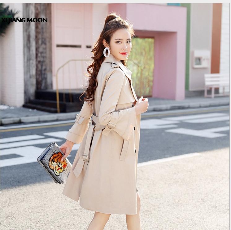 1f7689522952e Satın Al 2018 Moda Yeni Trençkot Kadınlar Için Kruvaze Slim Fit Uzun Bahar  Ceket Sonbahar Rüzgarlık Kadın R701, $72.28 | DHgate.Com'da