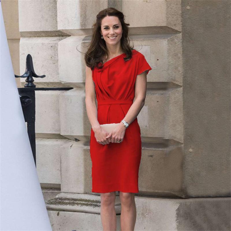 Acquista Principessa Kate Middleton Dress 2018 Estate Donna Manica Corta  Colletto Obliquo Abiti Eleganti Abiti Rossi Rossi NPD0684 A  81.84 Dal  Shuokai1995 ... a926bf45aa3