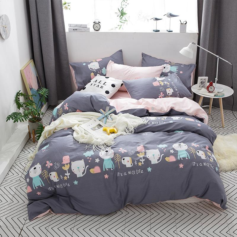 2018 Cartoon Grey Cat Dog Bedding Set 3/Twin Queen Size Cotton Fabric Duvet  Cover Flat Sheet Pillowcases Bedlinens King Size Duvets Blue Duvet Covers  From ...