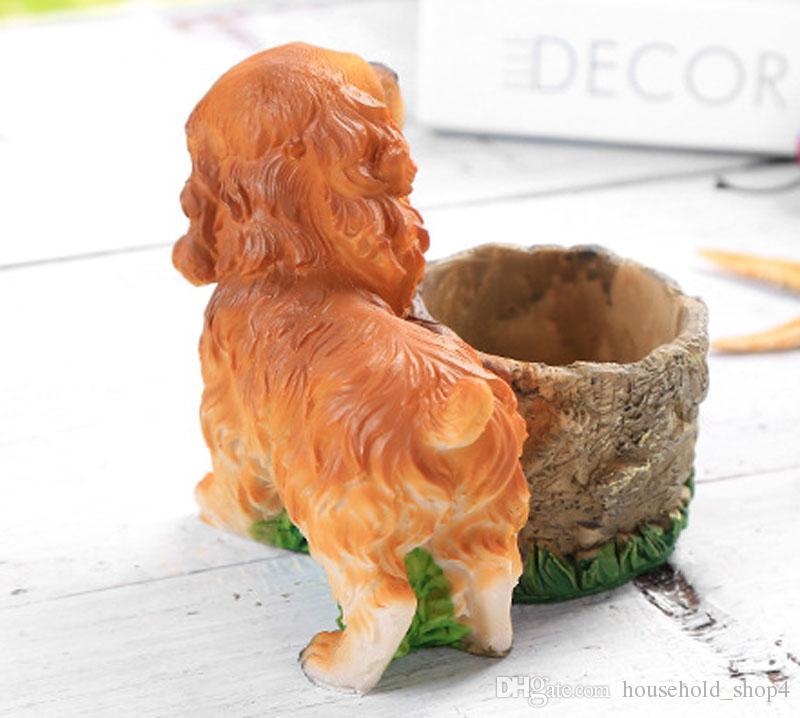 Precioso jardín de resina ventana Maceta creativa de perros de dibujos animados de resina de flores lindo Pot Craft suculentas florero