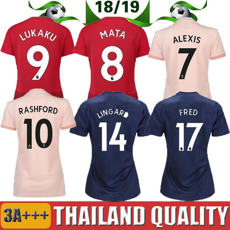 9f21578b478 18 19 POGBA ALEXIS Away Pink Soccer Jersey LUKAKU UNITED 2018 2019 RASHFORD  LINGARD UTD MATA MATIC MARTIAL Home Third Kids And Women Shirt Manchester  United ...