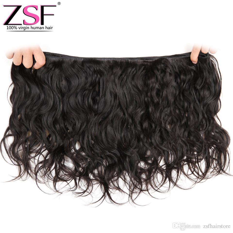 ZSF 8A Unprocessed Human Hair Bundles With Closure Natural Wave Hair Weave Extensions 3 Bundles With 4x4 Closure Brazilian Virgin Hair