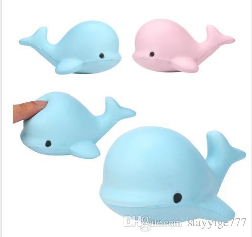 2018 nuevo 9 CM Jumbo Kawaii de dibujos animados lindo Squishy delfín ballena Millie Squeeze suave lento aumento de la correa de pan Kid regalo de juguete