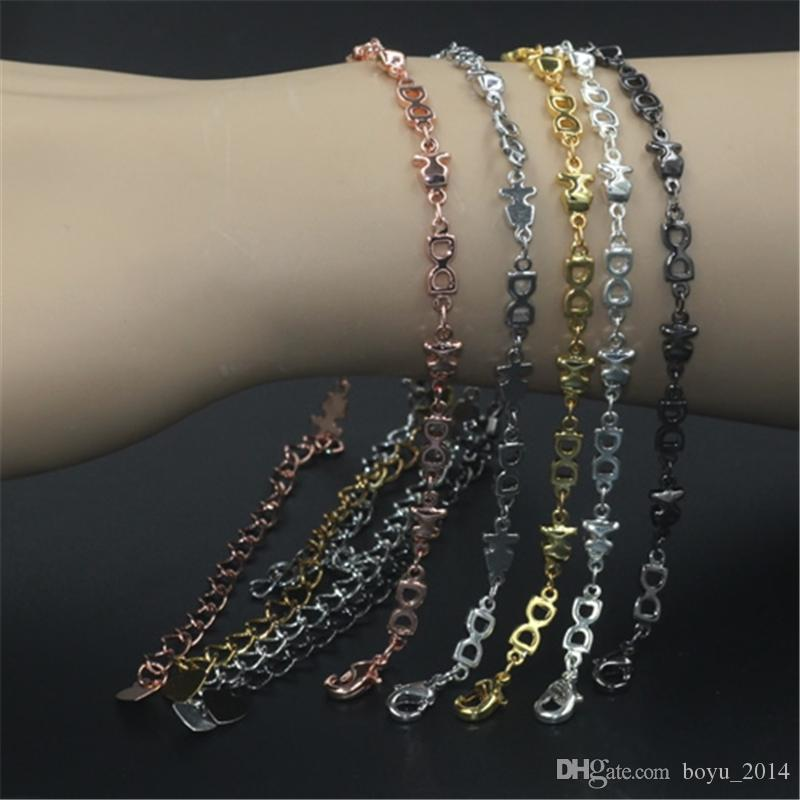 BoYuTe Pure Brass Material Plated Handmade Chain Link Bracelet Women Jewelry Findings & Components