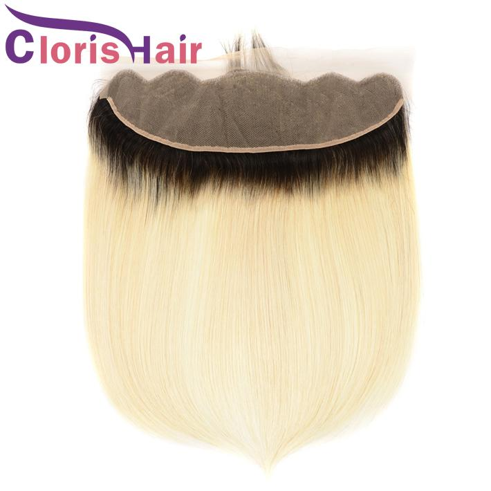Silk Straight Human Hair 13x4 Swiss Lace Frontal Dark Roots Blonde Malaysian Virgin Top Closures Piece Two Tone 1B 613 Ombre Full Frontals