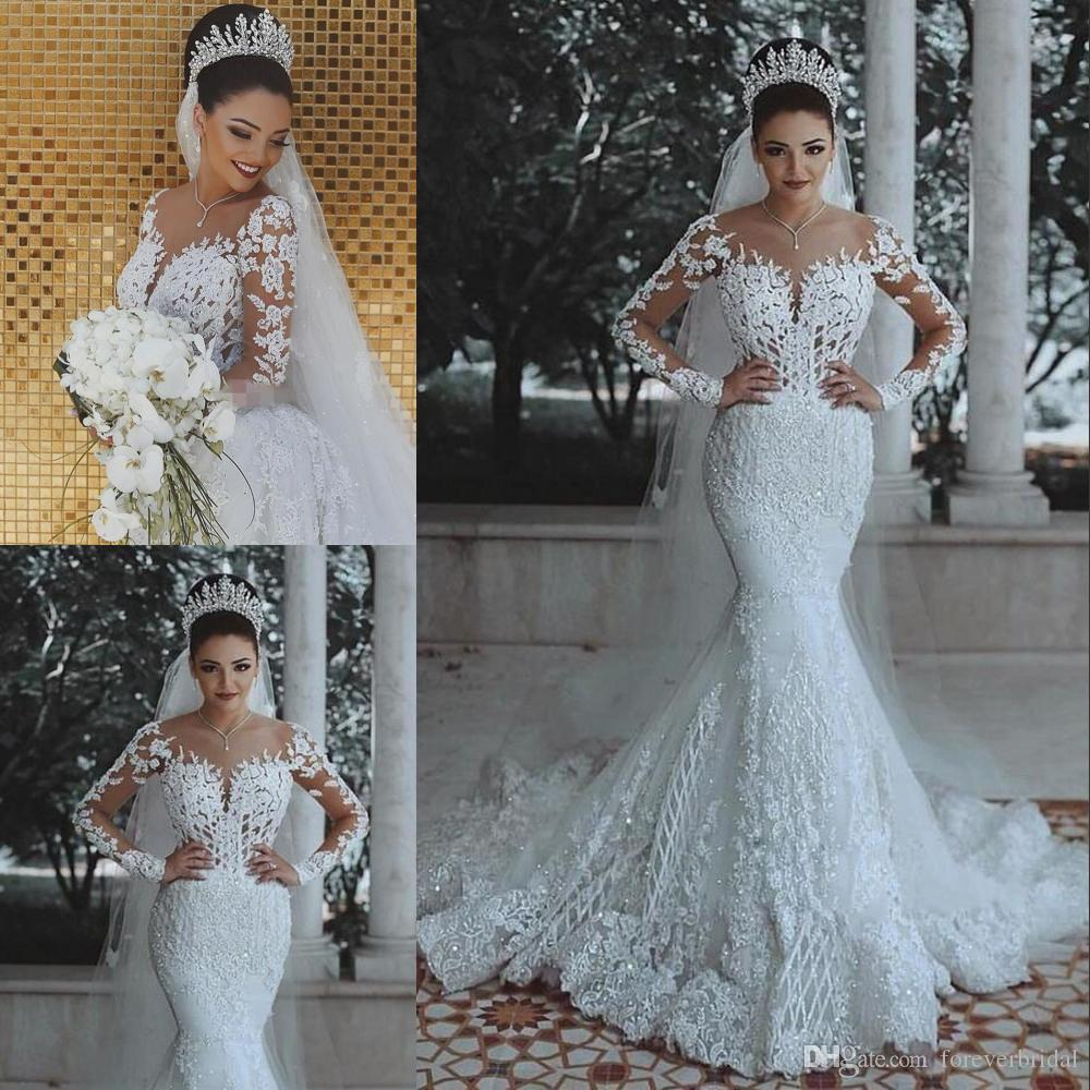 820e15460 Charming Mermaid Design Girl's Wedding Dress Colour White V-Neck Long Poet  Sleeve Sweep Train Appliques Wedding Gown Lace Up Back Design