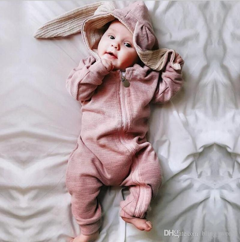 f21eb893a 2019 Baby Cute Rabbit Ears Hooded Romper Kids Solid Long Sleeve Clothing  Girls Boys Cotton Jumpsuits Toddler Infant Fashion Onesies Clothes YL859  From ...