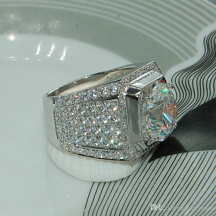 Splendida moda fatta a mano gioielli in argento sterling 925 popolare taglio rotondo bianco topazio diamante cz pieno di pietre preziose uomini wedding band ring regalo