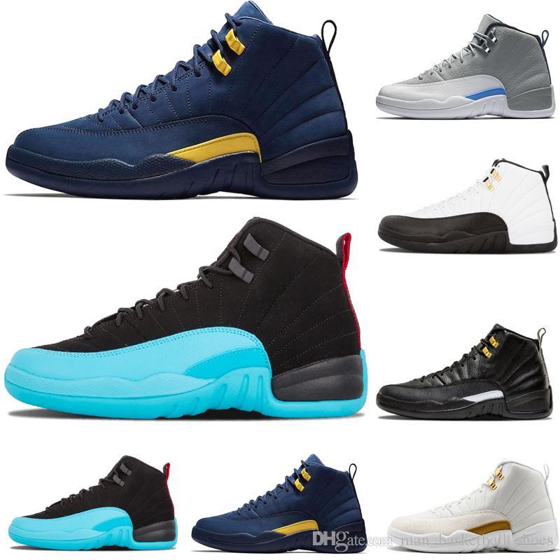 fa22bef24c3a50 Hot Sale 12 12s Michigan Dark Grey Wool Mens Basketball Shoes White ...