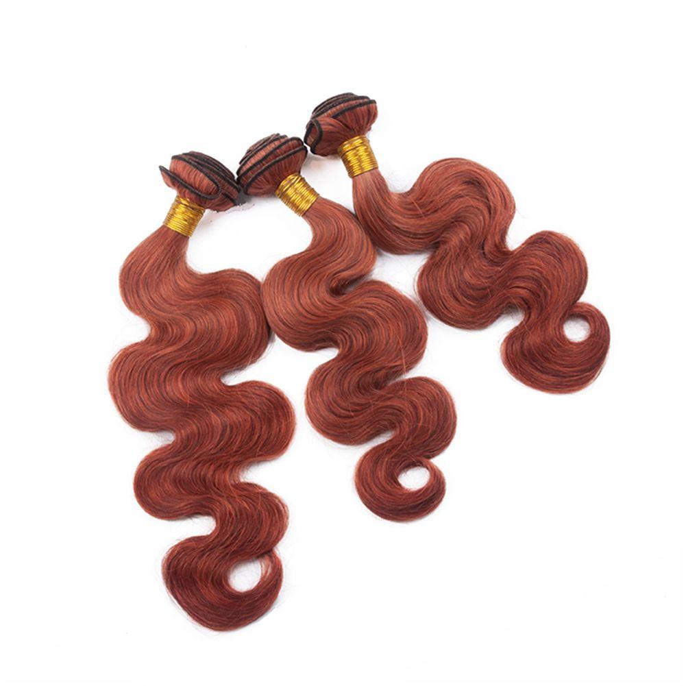 Body Wave Wavy Dark Auburn Brown Hair Weft Extension With Free Part Closure #ed Virgin Hair 3Bundles With Top Closure