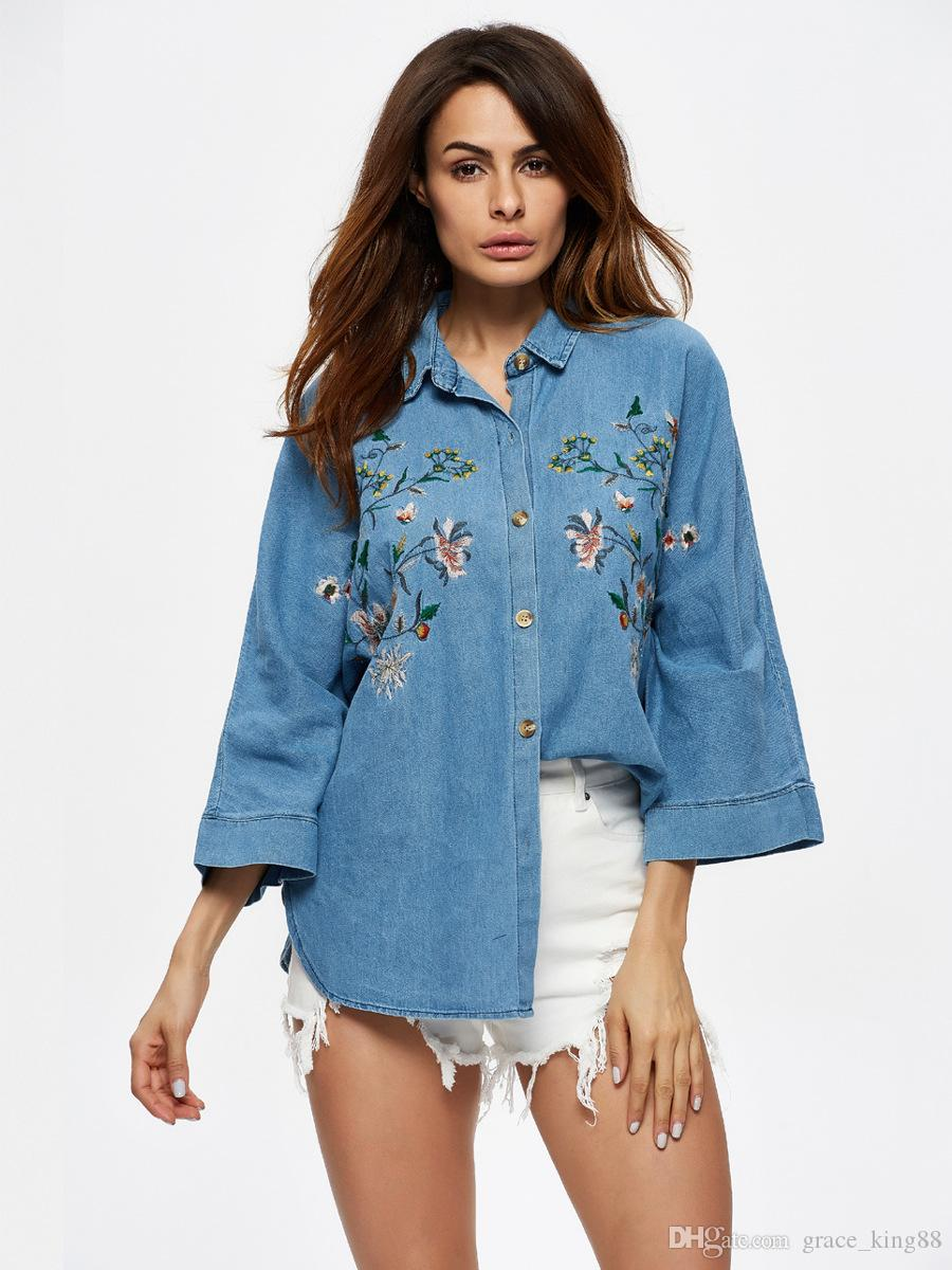 3fb7435b4ee 2019 2018 New Style Light Blue Embroidered Cowboy Shirt Blouse Cloose Sleeve  Denim Flower Embroidery Fashion Shirt Blouse From Grace_king88, $20.1    DHgate.