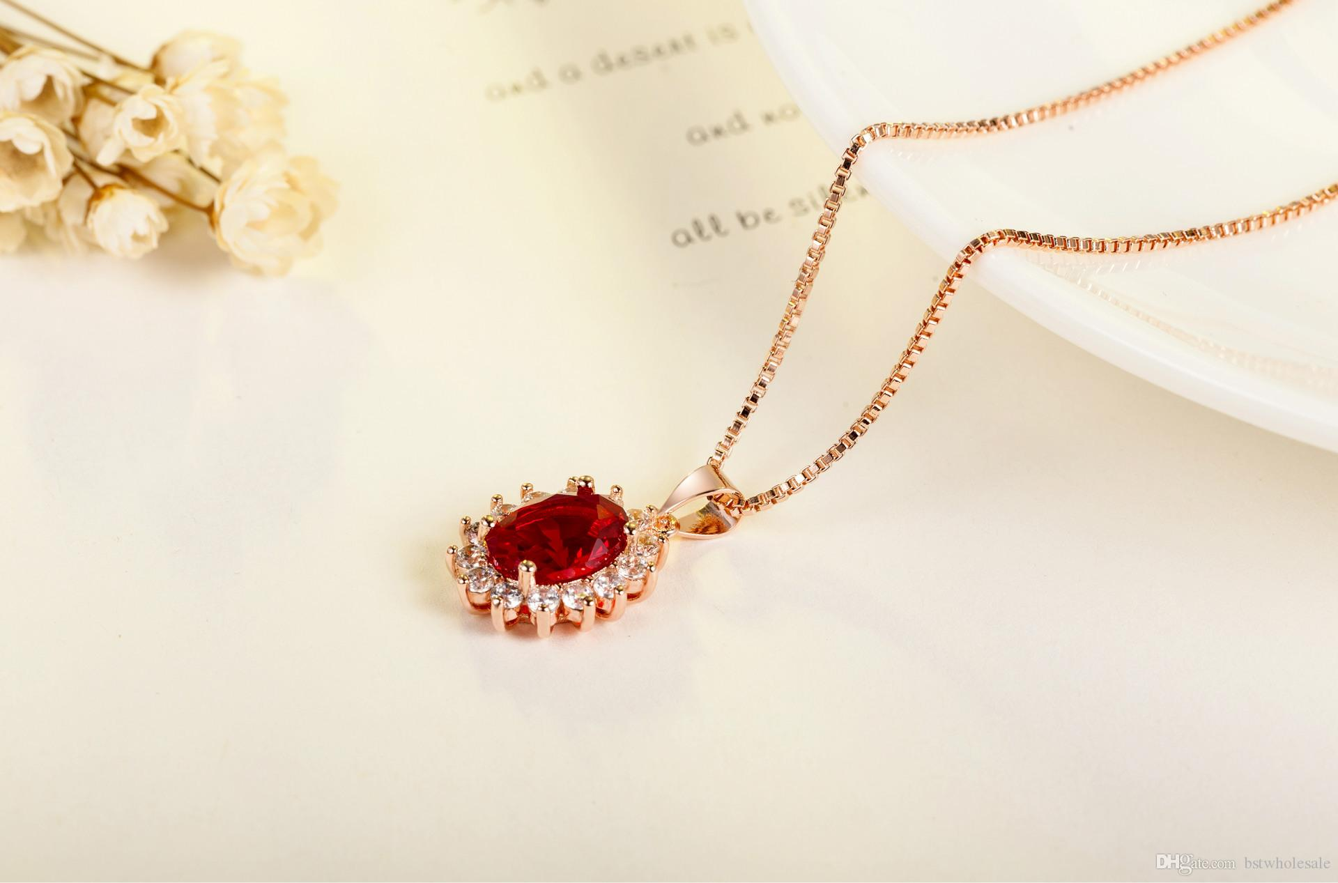 925 Sterling Silver fashion Oval Shape CZ Diamond crystal engagement wedding women jewelry charms cross cute necklace rose gold plate