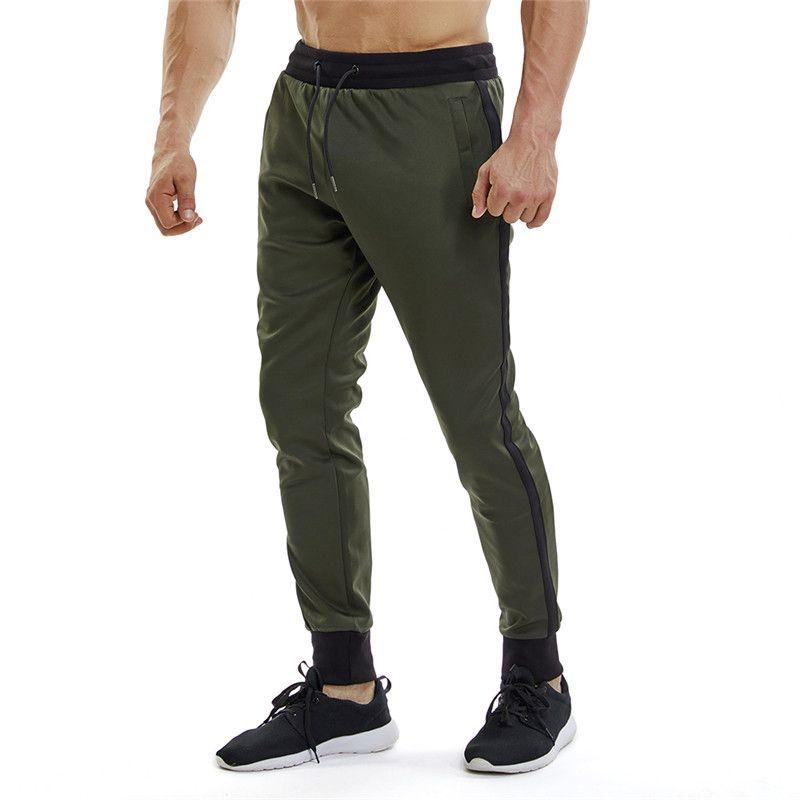 625cfb9b74 Compre Pantalones Deportivos Para Hombre Pantalon Jogging Homme Raya  Lateral Bolsillo Con Cremallera Pantalones Deportivos Pantalones Deportivos  Para ...