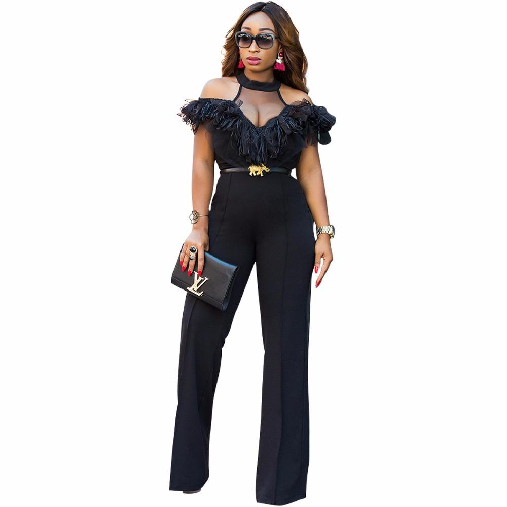 f97dd61ae1 2019 Wholesale Black Mesh Ribbon Patchwork Back Cutout Jumpsuits Sleeveless  Hollow Out O Neck Long Playsuit Women Fashion Straight Wide Rompers From ...