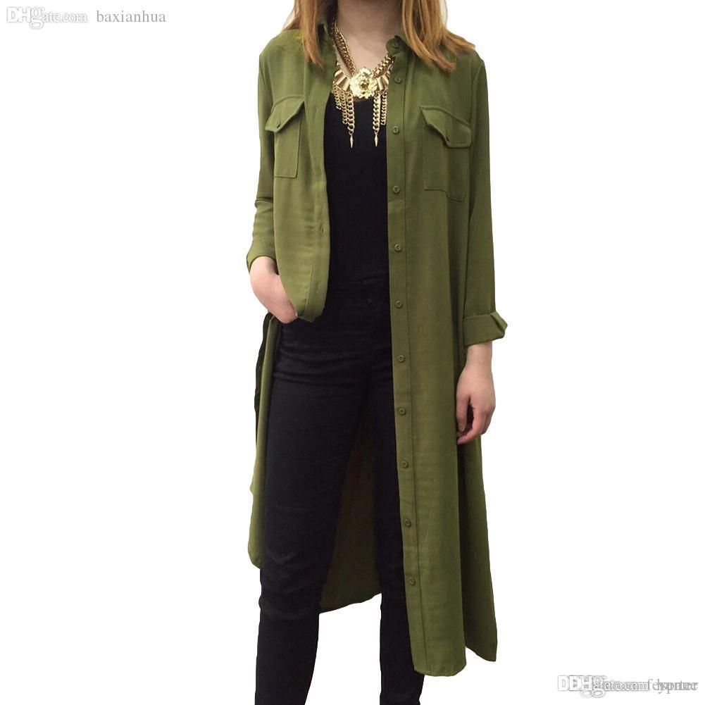 2799765a8391a Wholesale New Fashion Women Shirt Dress Boyfriend Style Turn Down Collar  Long Sleeve Buttons Pockets Casual Loose One Piece Party Dresses Lace Lime  Green ...