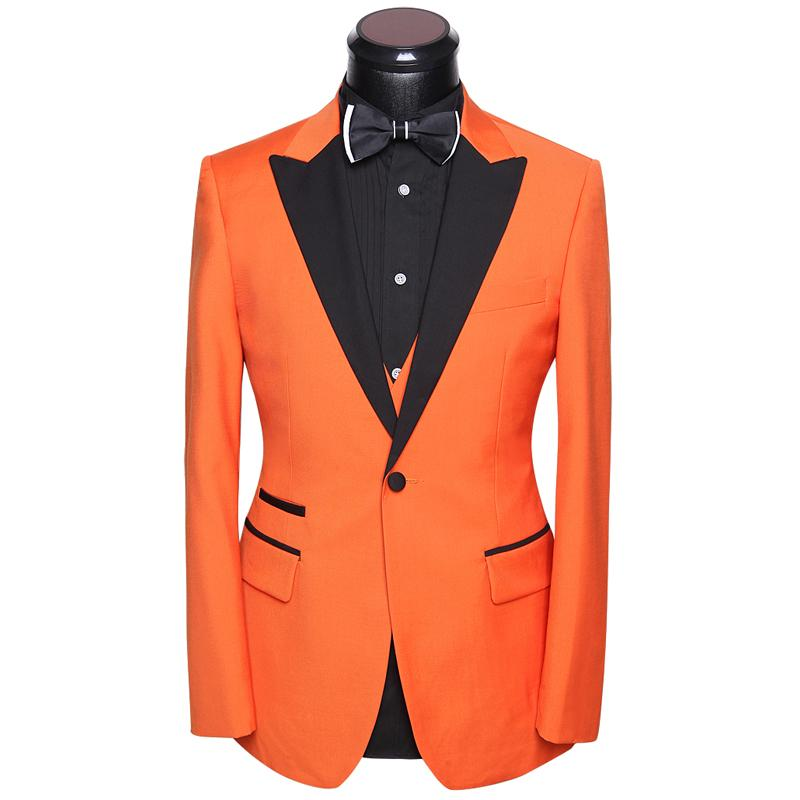 42a38f4aa5 2019 Man Suit For Wedding Tuxedo 2018 Latest Coat Pants Vest Dress Suits  Set Slim Fit Groom Evening Party Costume White Orange Gold From Nevalee, ...