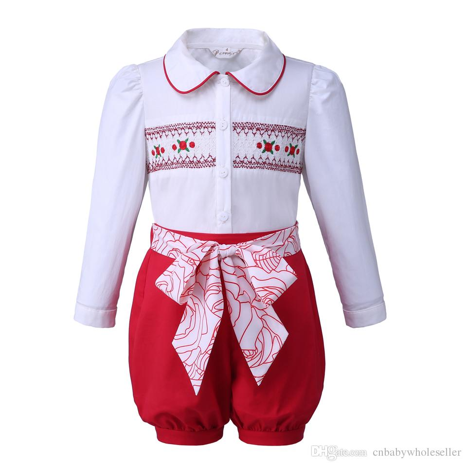 90048cfed Pettigirl Summer Baby Girls Clothing Sets Embroidery Top+ Red Shorts ...