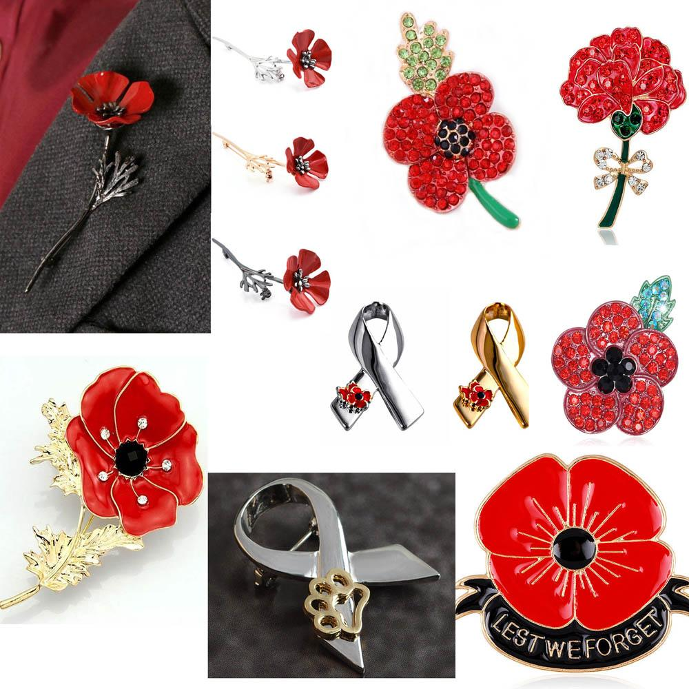 2018 Women Men Enamel Remembrance Brooch Red Poppy Flower Lapel Pin