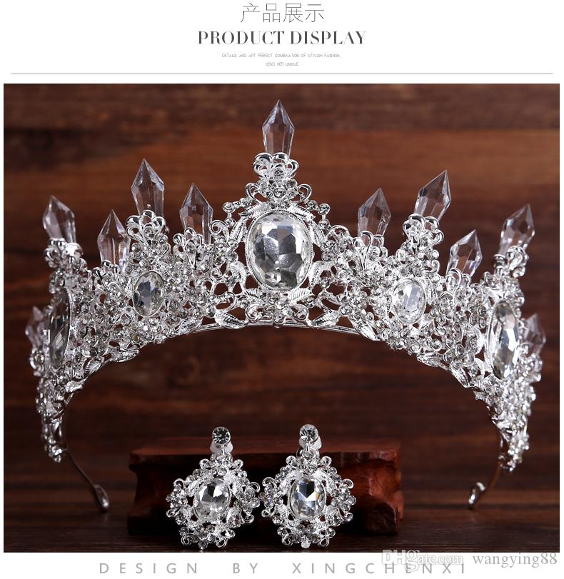 Tiara Eardrop Queen Three Colors crystal Tiara Crown Pageant Hair Accessories Bridal Headpiece Discount For Wedding Dresses Cheap