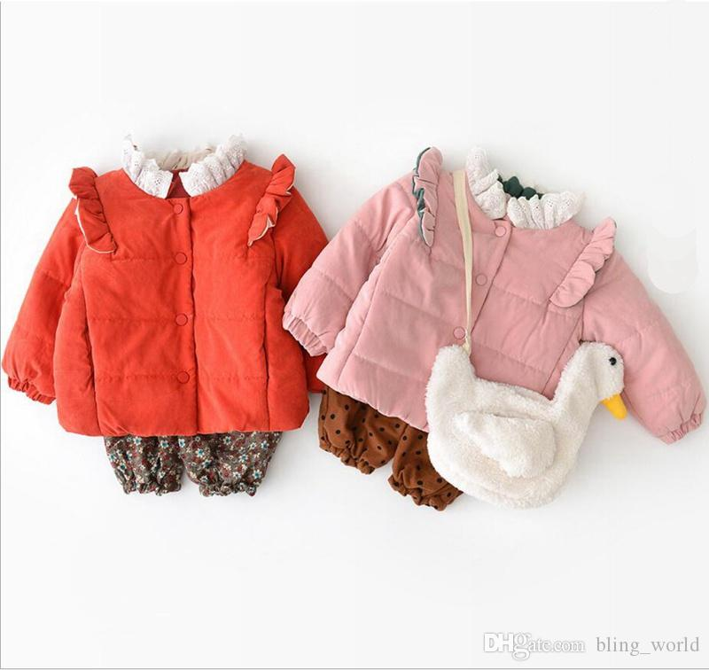 a4657445562d Ins Baby Girls Coat Solid Color Lace Mandarin Collar Coats Back With ...