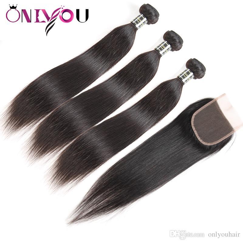 العذراء البرازيلي الشعر مستقيم موجة شعر الجسم الإنسان لحمة 3 نسج حزم مع 4 * 4 اختتام الخام الهندي بيرو ريمي الشعر المنتجات