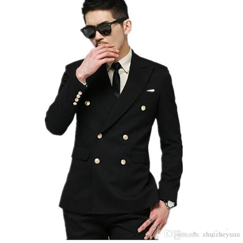 New Design Double Breasted Black Groom Tuxedos Custom Made Cheap ...