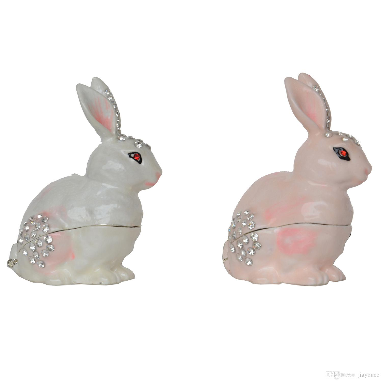 Rabbit Hinged Trinket Jewelry Box Bejeweled Ring Holder Animal Figurine Collectible