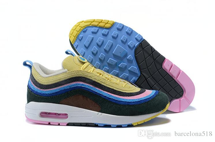 474cb9d0e8c2 Brand New 97 1 Sean Wotherspoon Shoes Men Casual Shoes Top 97s Women Vivid  Sulfur Multi Yellow Blue Hybrid Shoes Not With Box 36 45 Cool Shoes Naot  Shoes ...