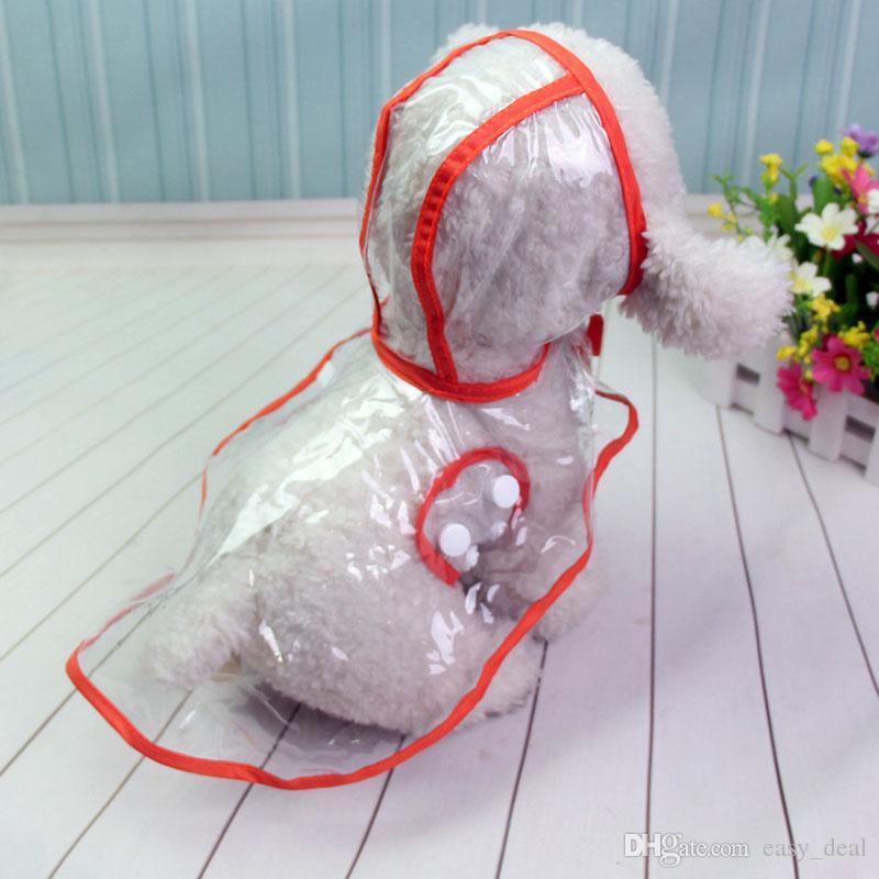 Dog Apparel Waterproof Small Pet Dog Raincoats Jacket Hooded Pet Rain Coat Clothing Transparent Dogs Rainwear QW7214