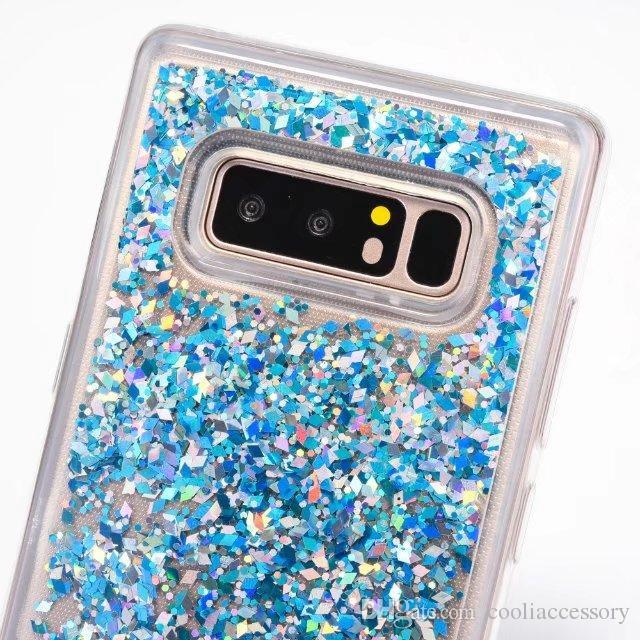 Quicksand Liquid Diamond Bling Soft TPU Case For Samsung Galaxy NOTE 8 NOTE8 Magical Dynamic Glitter gel Skin Cover Cell Phone Fashion