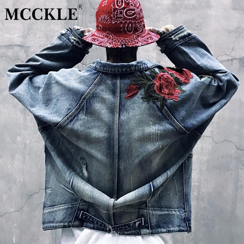 Mcckle Mens Retro Rose Embroidery Denim Jacket Couple Loose Ripped