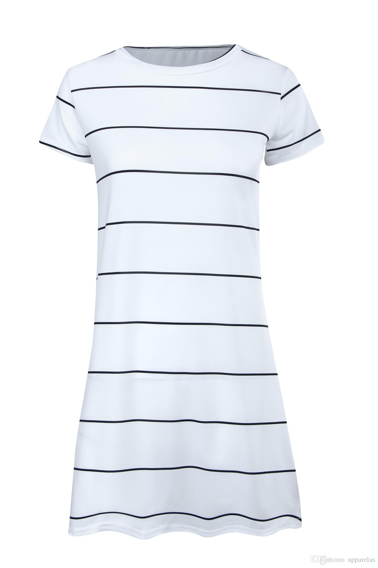 White black and white striped dress woman Mini Casual Dresses