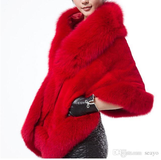 겨울 웨딩 코트 신부의 모피 랩 따뜻한 숄 아우터 블랙 버건디 화이트 한국 스타일 여성 자켓 댄스 파티