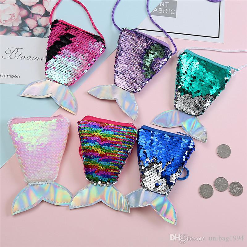 New Arrival Girls Love Mermaid Sequins Coin Purse With Lanyard Beautiful Fish Shape Tail Coin Pouch Bag Small Portable Glittler Wallet