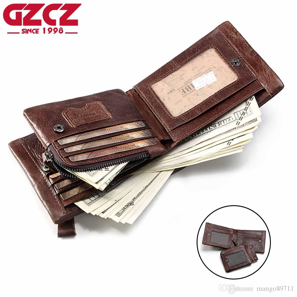 a23c343b6851 GZCZ Genuine Leather Wallet Men Zipper Design Bifold Short Male Clutch With Card  Holder Coin Purse Crazy Horse Brown Wallets Ladies Wallets Best Wallets ...