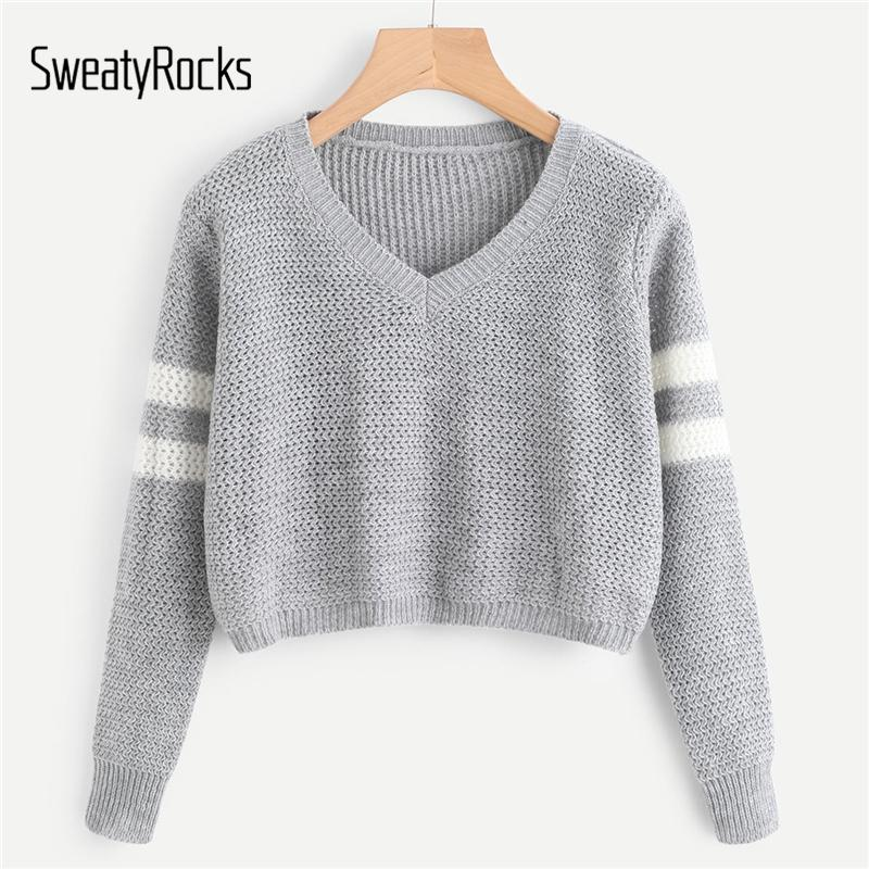 0215e237312b3d 2019 SweatyRocks Grey Autumn Women Sweater Varsity Striped Crop Jumper V  Neck Long Sleeve Pullover Knit Tops 2018 Womens Sweaters S18100803 From  Jinmei03, ...