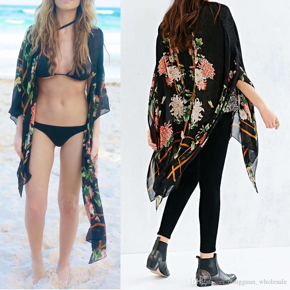 2018 Verão Praia Cardigan Manga Longa Mulheres Crochet Do Vintage Solto Flor Impresso Blusa Protetor Solar Nadar Desgaste Livre TAMANHO