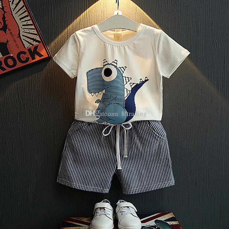 Baby boys dinosaur print outfits children top+stripe Shorts 2pcs/set 2018 Summer kids Clothing Sets C4018