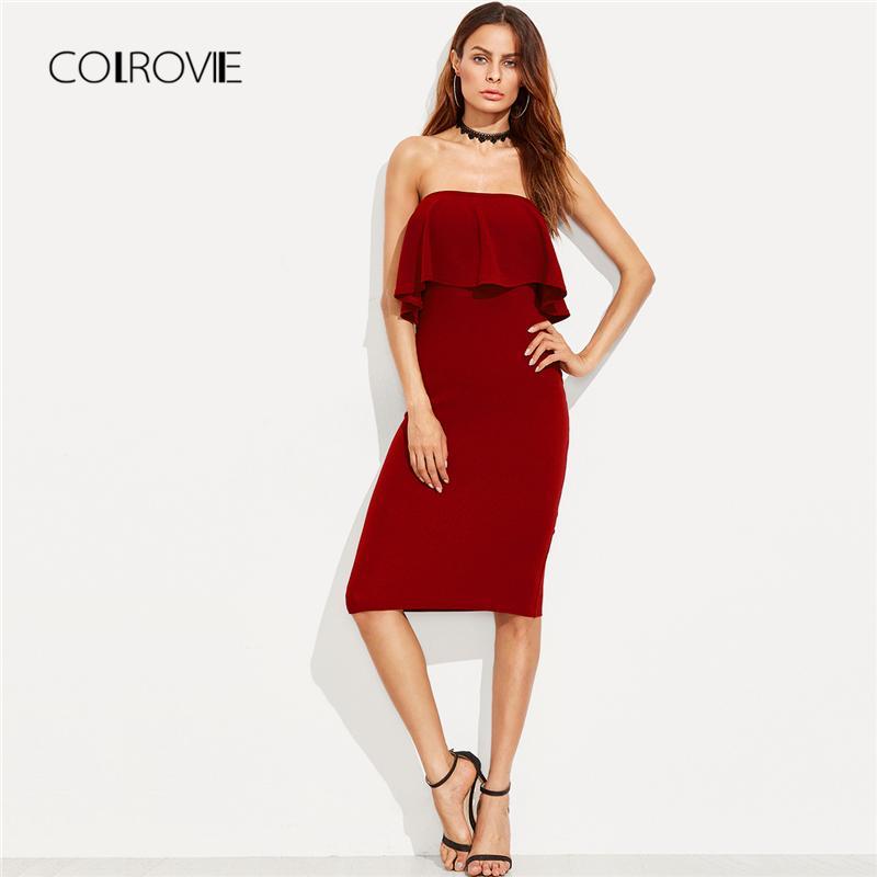 2d23c00a3 20187 COLROVIE vestido de fiesta de lápiz bandeau bandeau 2018 nuevo  vestido de verano de hombro rojo elástico vestido de mujer sin tirantes
