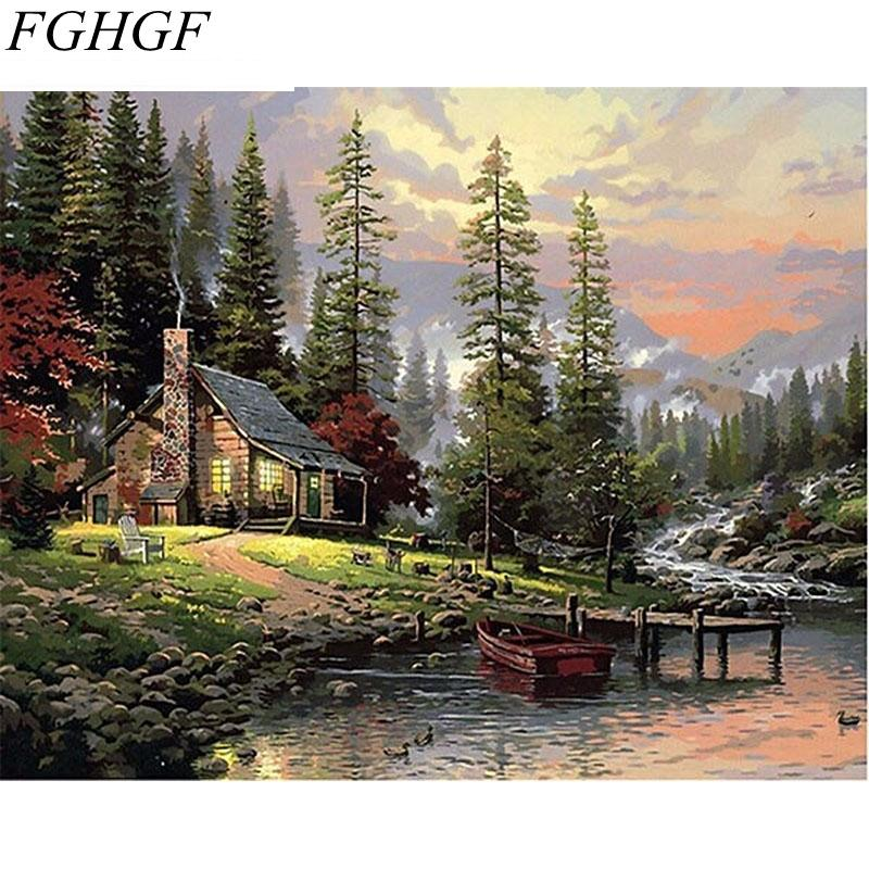 FGHGF DIY Painting By Numbers Home Decor Hand Painted Landscape Canvas Painting Unique Wall Art Picture 40*50cm Countryside