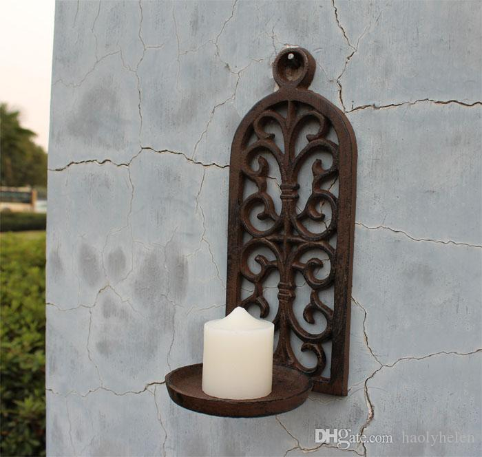 European Old Vintage Retro Casting Iron Candlestick Candle Holder Wall Mounted Home Bar Pub Garden Porch Decoration Metal Craft