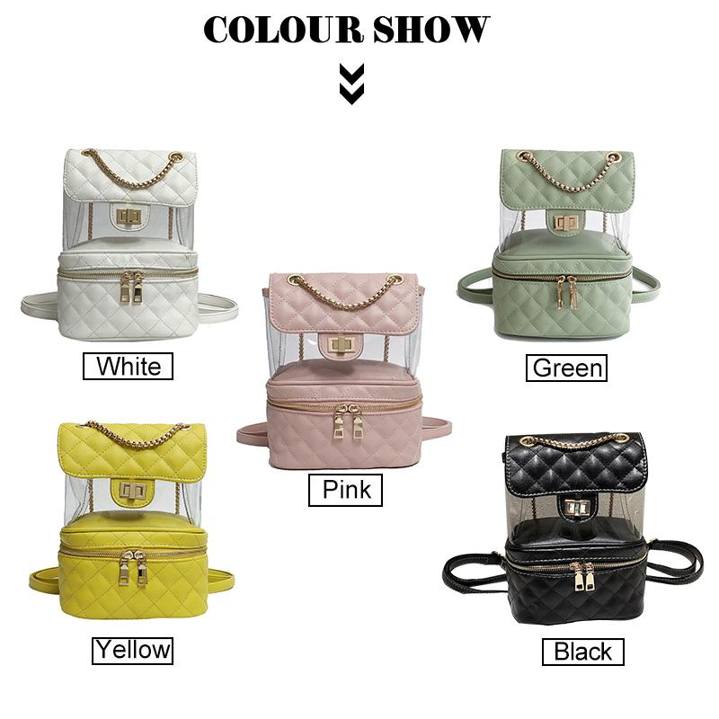54eaab4a37e4 Fashion Design Women Solid Color Backpack Transparent Small Square Bag PU  Leather Double Zipper Backpack Casual Traveling Bags Swiss Gear Backpack  Osprey ...