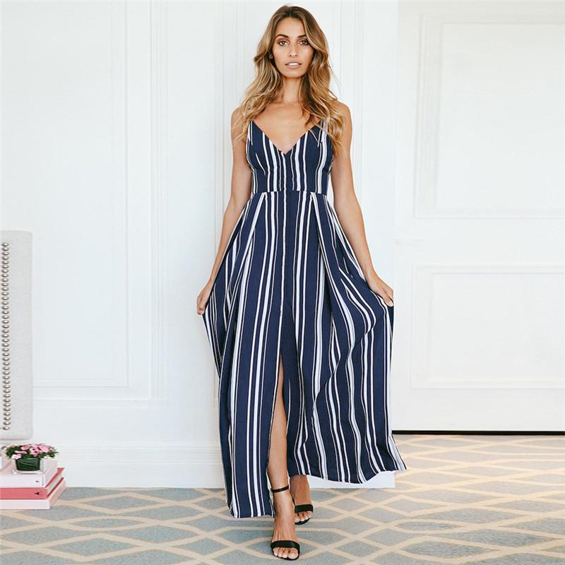 2175b8cf71a Acheter Longue Maxi Dress 2018 D été Dames Sexy Profonde Col En V Split  Rayé Robe Casual Sans Manches En Mousseline De Soie Robe Retour Bow Plage  Robes De ...