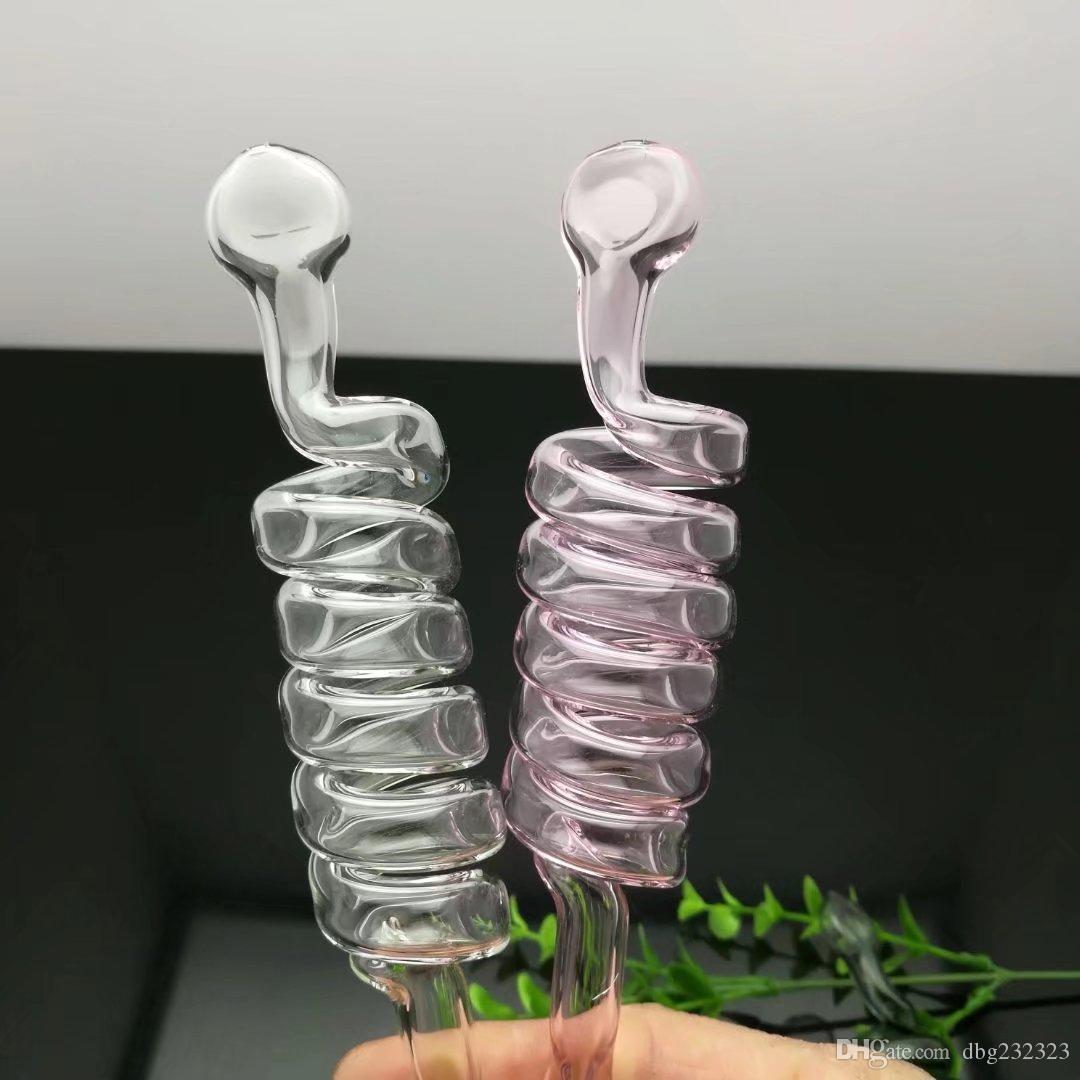 Pote de cristal espiral multicolor. Venta al por mayor bongs de vidrio Quemador de aceite Tubos Pipa de agua Plataformas petroleras Fumar Envío gratuito