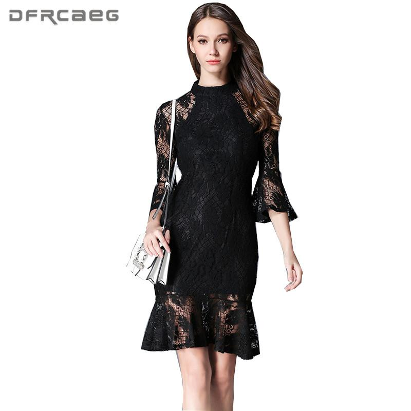 18f3f51a6e 2019 New Arrival Black Lace Trumpet Dress For Women 2018 Spring Fashion Elegant  Sexy Dresses Flare Long Sleeve Party Evening Vestido From Qingxin13