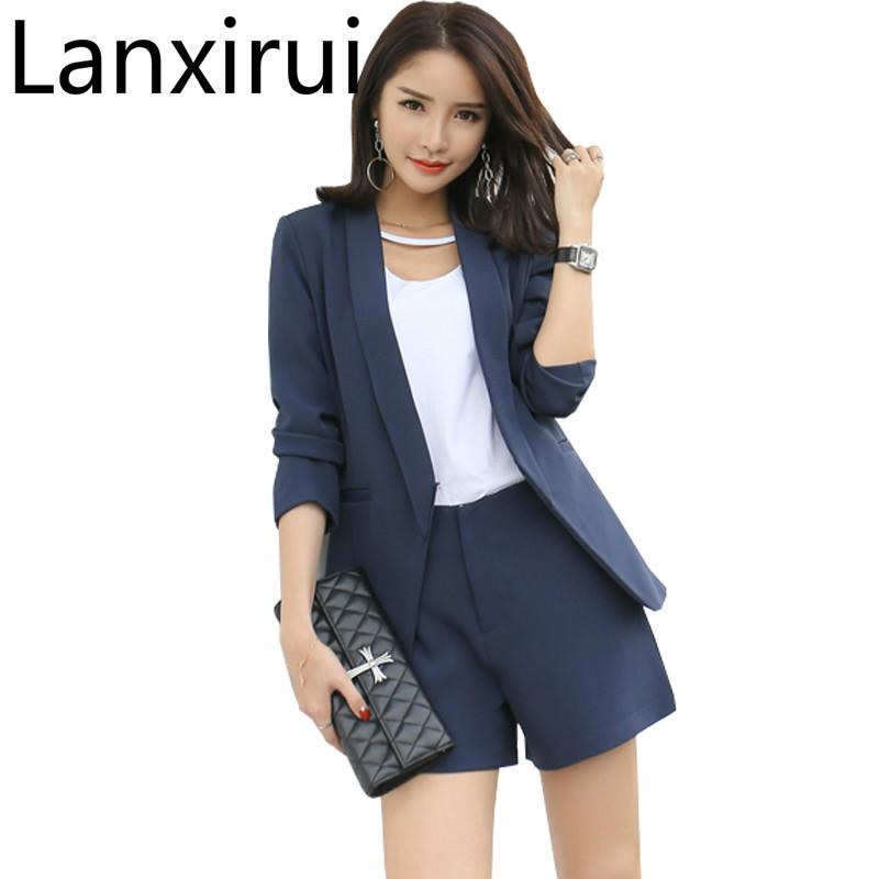 53634d1673 2019 2018 Work Wear Short Pants Suit Women Summer Autumn Long Sleeved  Blazer With Shorts Ol Office Ladies Formal Suits Navy Khaki From Bigseaa