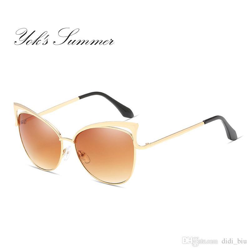 326cd6bbbc1e2 DIDI Fashion Cat Eye Sunglasses Women Brand Design Alloy Frame Thin Sun  Glasses Female Gradient Shades Goggle UV400 WL124 Designer Sunglasses  Sunglasses For ...