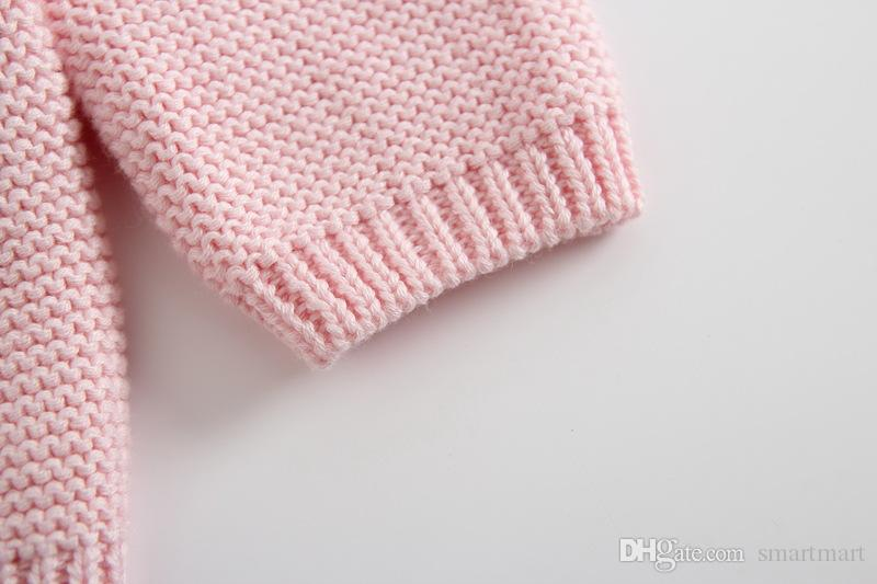 Everweekend Bébés Filles Tricoté Bonbons Couleur Pull Cardigans Rose Beige Couleur Mignon Enfants Mode Printemps Automne Vestes