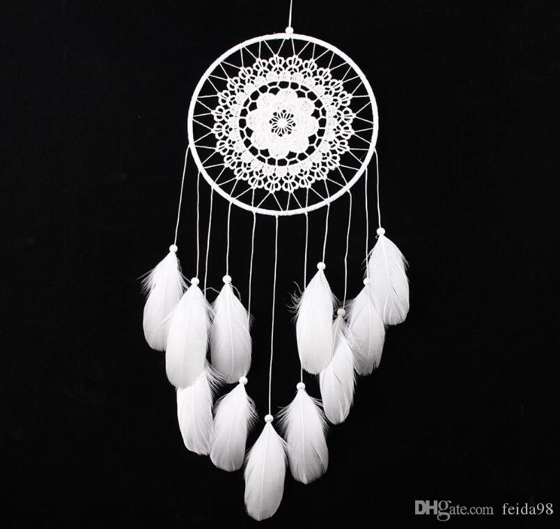 Handmade Lace Dream Catcher Circular With Feathers Hanging Decoration Ornament Craft Gift Crocheted White Dreamcatcher Wind Chimes GA122