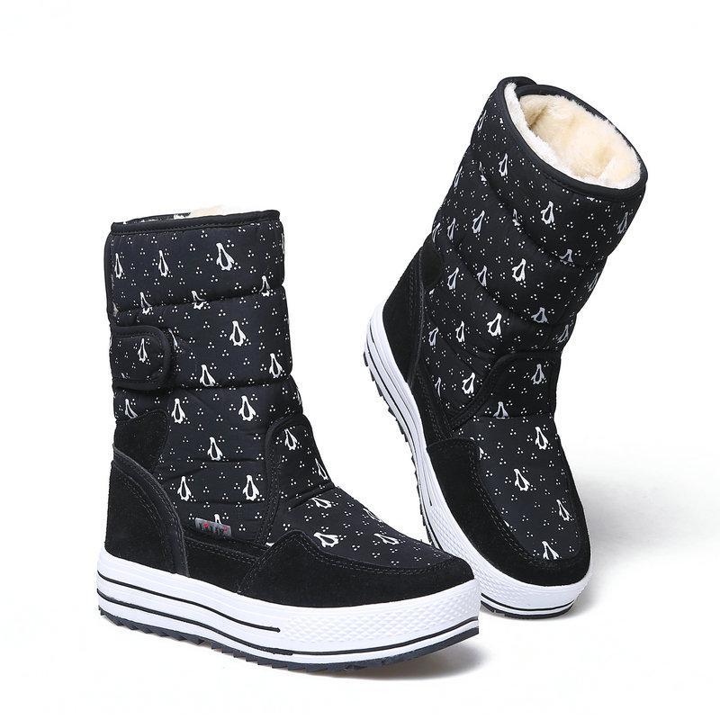 7df82085f0 Compre Sapatos Pretos Mulheres Bota Inverno Manter Quente Moda Jovem Botas  De Pelúcia Fivela De Pele Colocar Rapidamente Em Mid Culf Altura Vaca  Camurça De ...